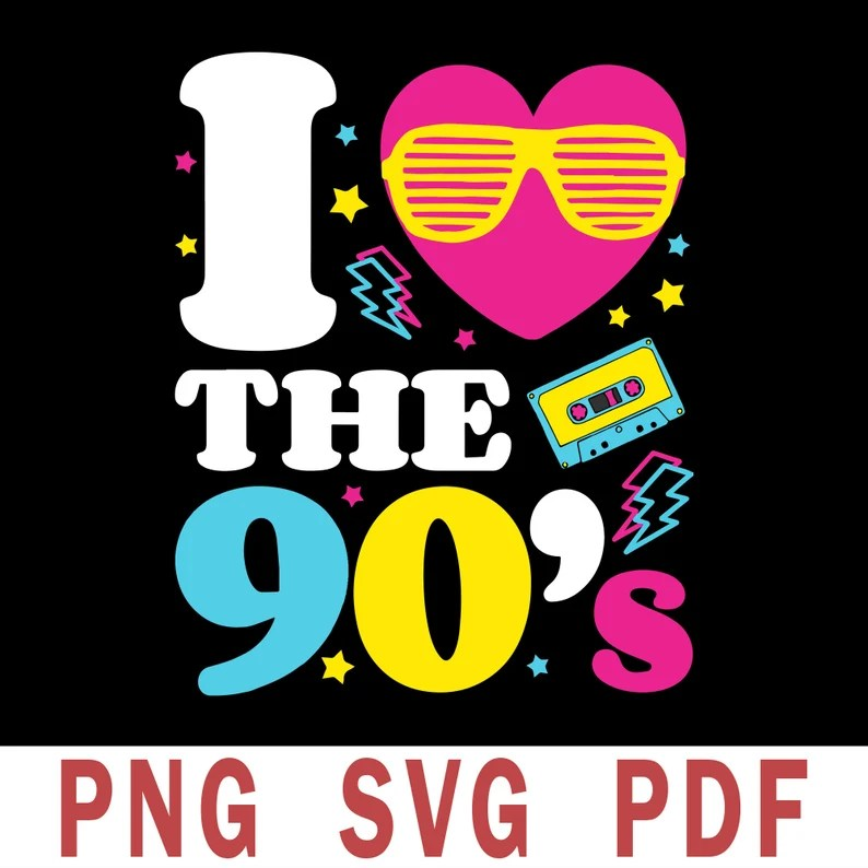 Download 90s love retro svg 1990's 90s svg I Heart the Nineties   Etsy