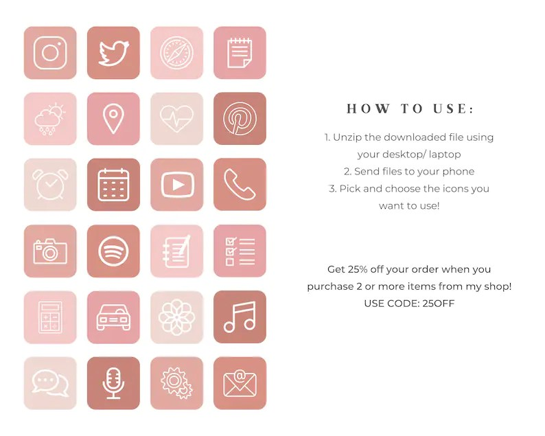 App icons in every fall color or keep it simple with a neutral layout. 180 iOS 14 App Icons Pack Aesthetic Neutral Colors Pink   Etsy