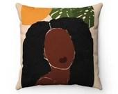 Faux Suede Square Pillow | Indoor Pillow | Sun + Leaf| Feminine Pillow | Decorative Pillow | Pillow + Cover | 14x14, 16x16, 18x18, 20x20