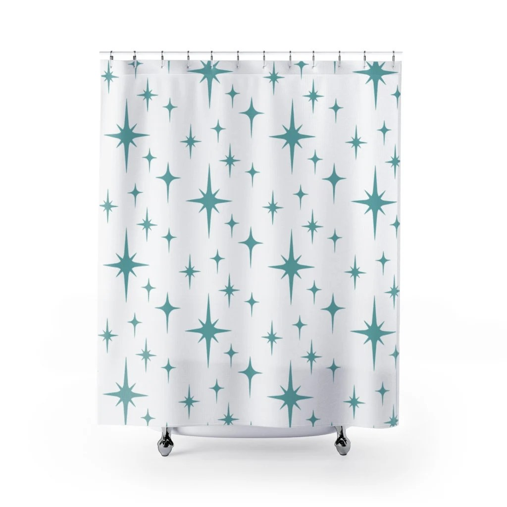 1950s shower curtain etsy