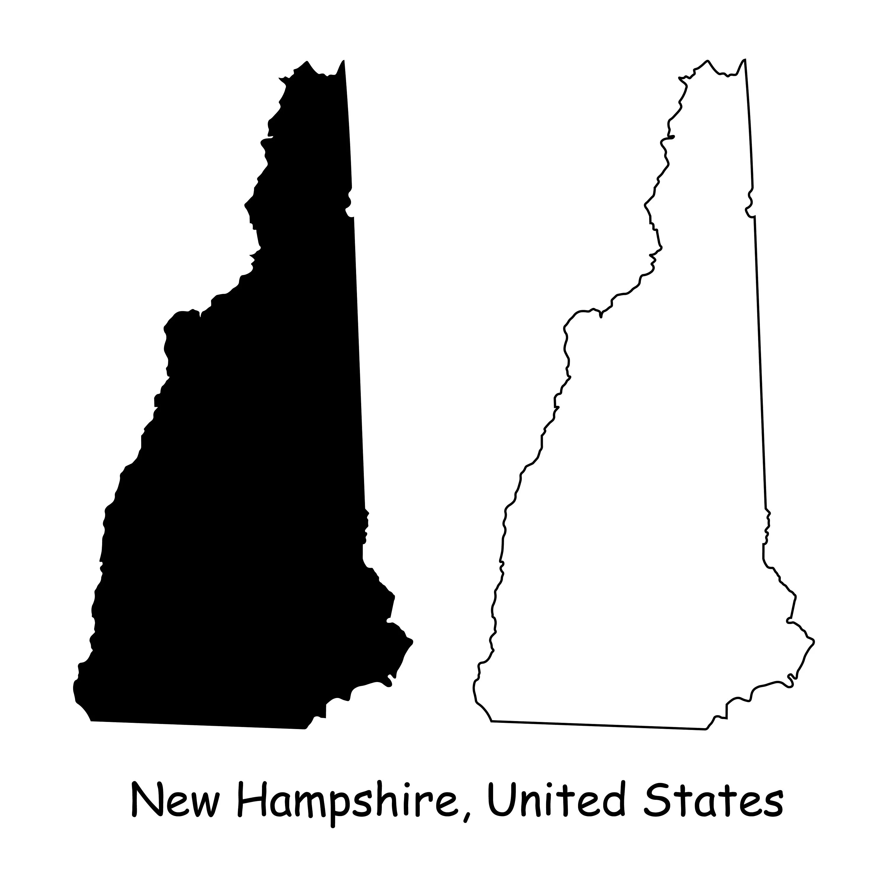 New hampshire is the 5th smallest by land area and the 9th least populous of the 50 united states. New Hampshire Map Svg Nh Usa United States Of America Us Etsy