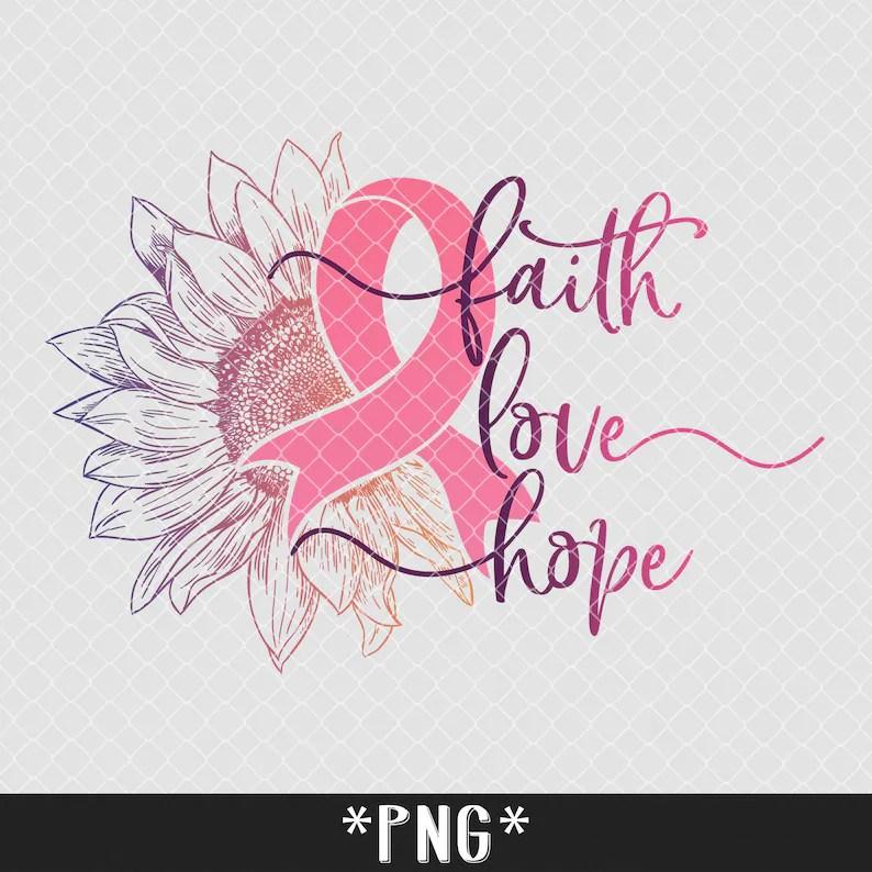 Download Sunflower Breast Cancer SVG Faith Love Hope Svg Cancer   Etsy