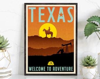 texas travel poster etsy