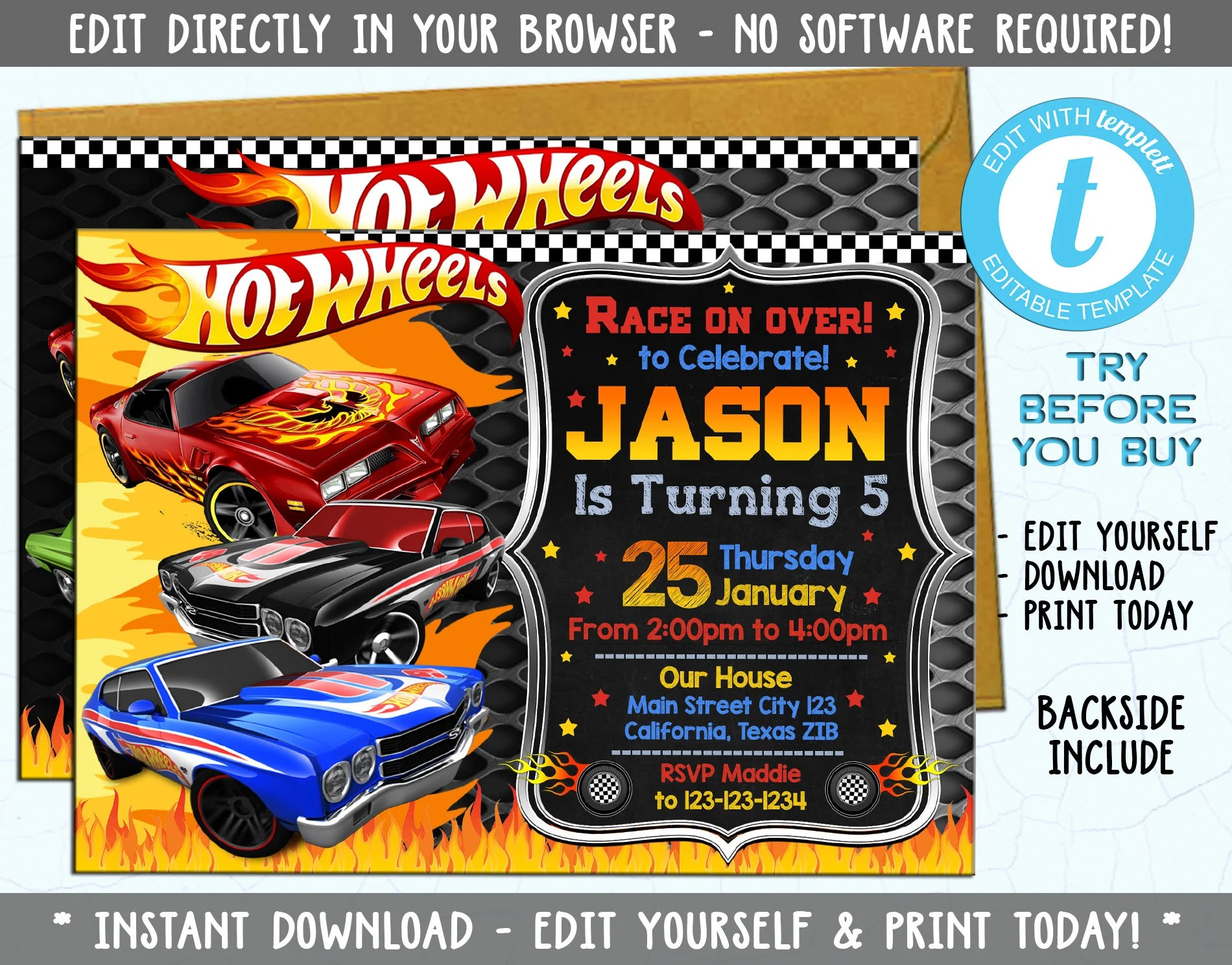 hot wheels invite etsy