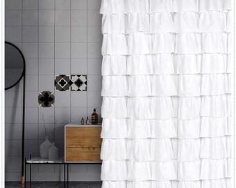 ruffle shower curtain etsy