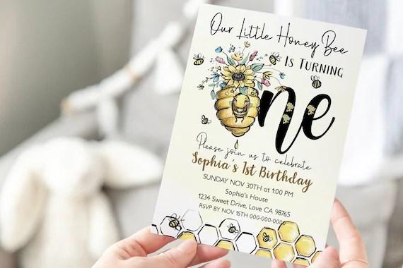 editable bee 1st birthday invitation