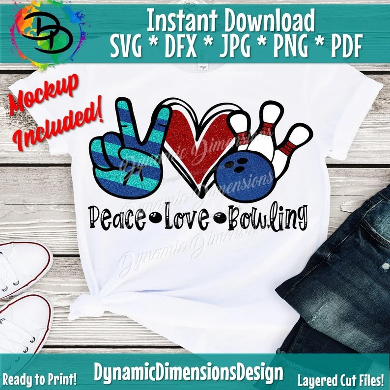 Download Peace Love Bowling svg Bowling svg Peace Love SVG Heart | Etsy