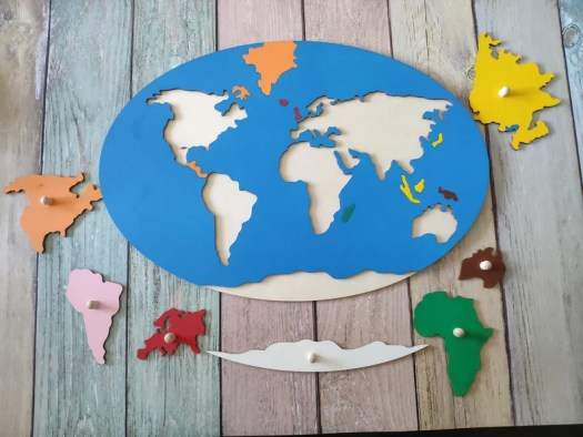 World map wooden puzzle Wooden puzzles for children image 0