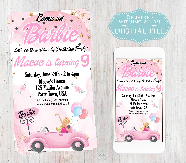 barbie invitation etsy