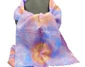 Long silk scarf - silk neck scarf - silk head scarf - hand dyed silk scarf - beautiful silk scarf women - flowery pure silk scarf - Fleur