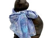 Long silk scarf - OOAK silk neck scarf - silk hair scarf - hand dyed silk scarf - silk scarf women - Violet and blue
