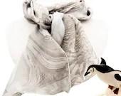 Long silk scarf - silk hair scarf - silk head scarf - hand dyed silk scarf - beautiful silk scarf women