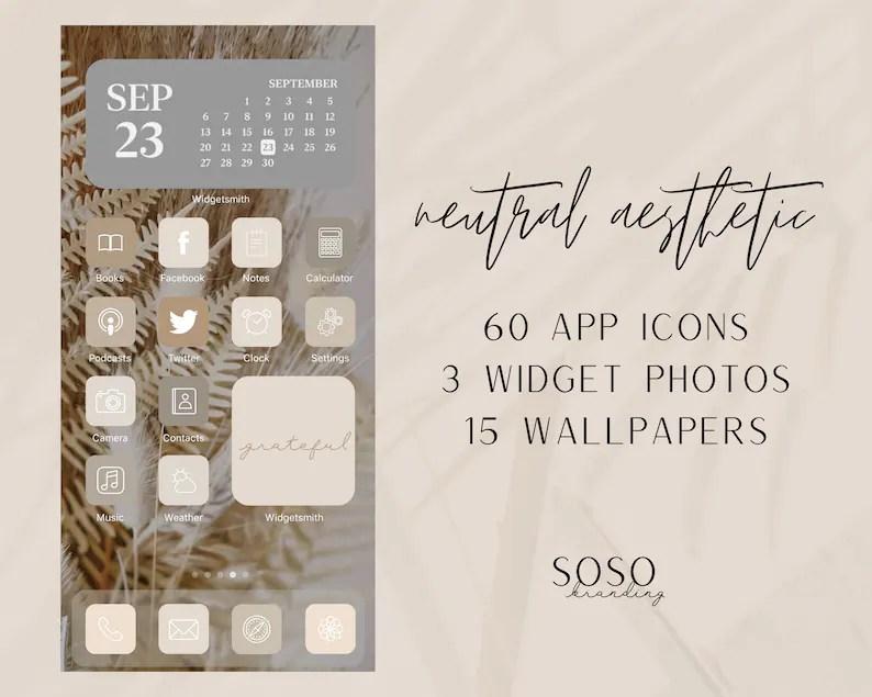 Gray neutral aesthetic iphone ios14. Neutral Tone Aesthetic 60 iOS 14 App Icons iOS14 Widget   Etsy
