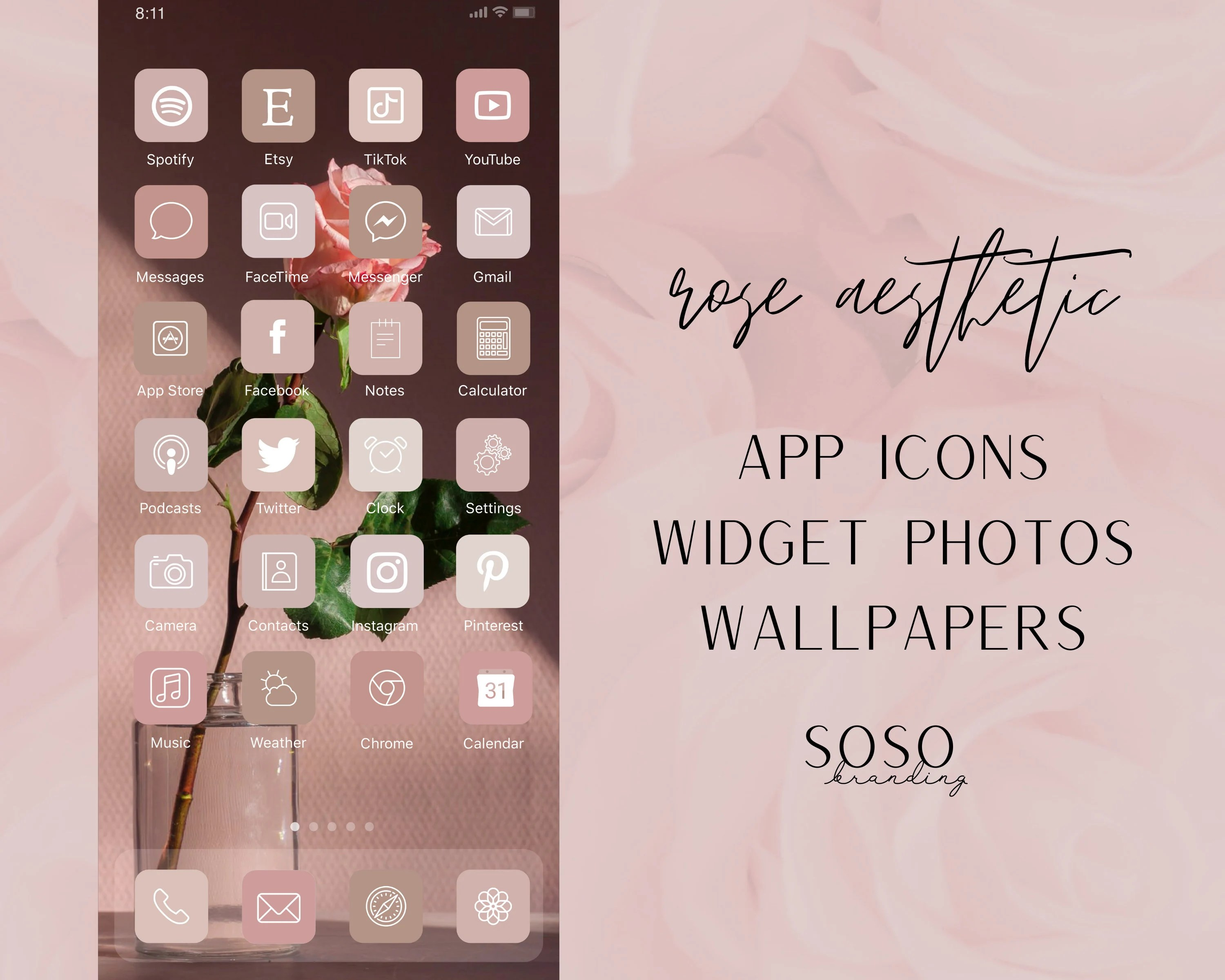 Neutral boho ios 14 app icons cream aesthetic iphone icons personalized home screen iphone widgets widgetssmith shortcuts in 2021 app icon. Rose Pink Neutral Aesthetic iOS 14 iPadOS App Icons iOS14 ...