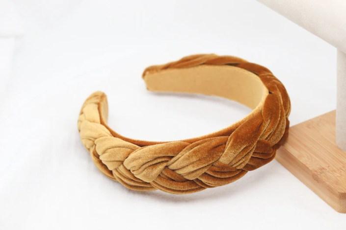 Womens Wide Velvet Plait Headband Twist Thick Braid Mustard image 0