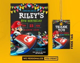 party invitation mario kart etsy