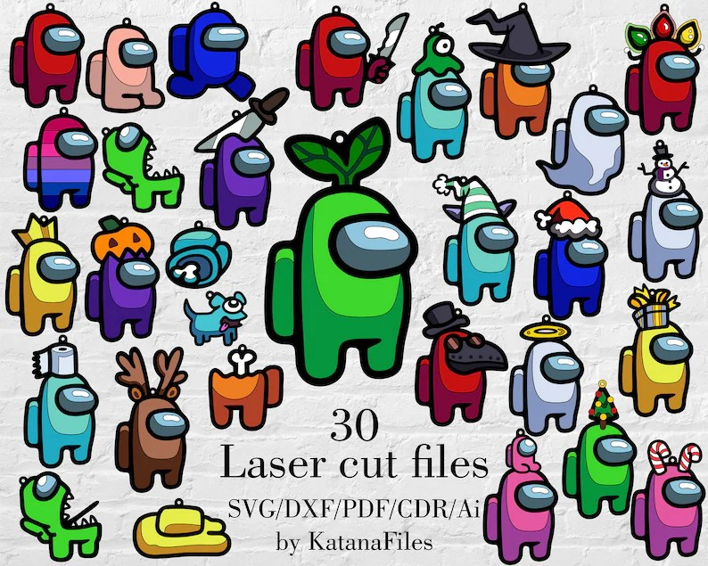 Download Among us laser cut Svg Dxf Pdf Cdr Ai files with 30 ...