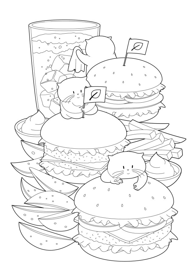 Printable Vegan Burger And Cat Coloring Page, Instant Download Fast Food  Colouring Sheet for Cat Lover & Food Lover