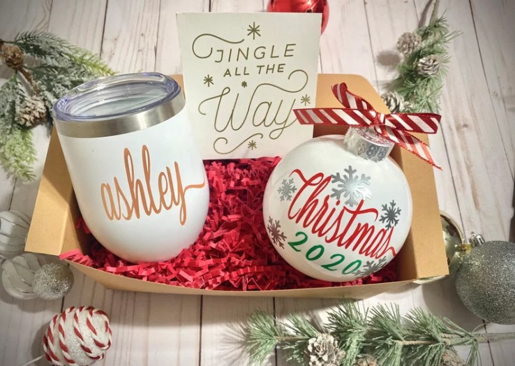 Christmas Gift Box. Christmas ornament. Personalized Wine image 0