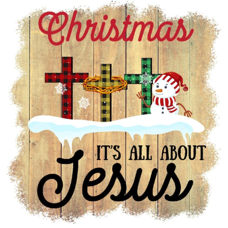 Download Christmas It's All About Jesus Colorful Plaid Cross | Etsy
