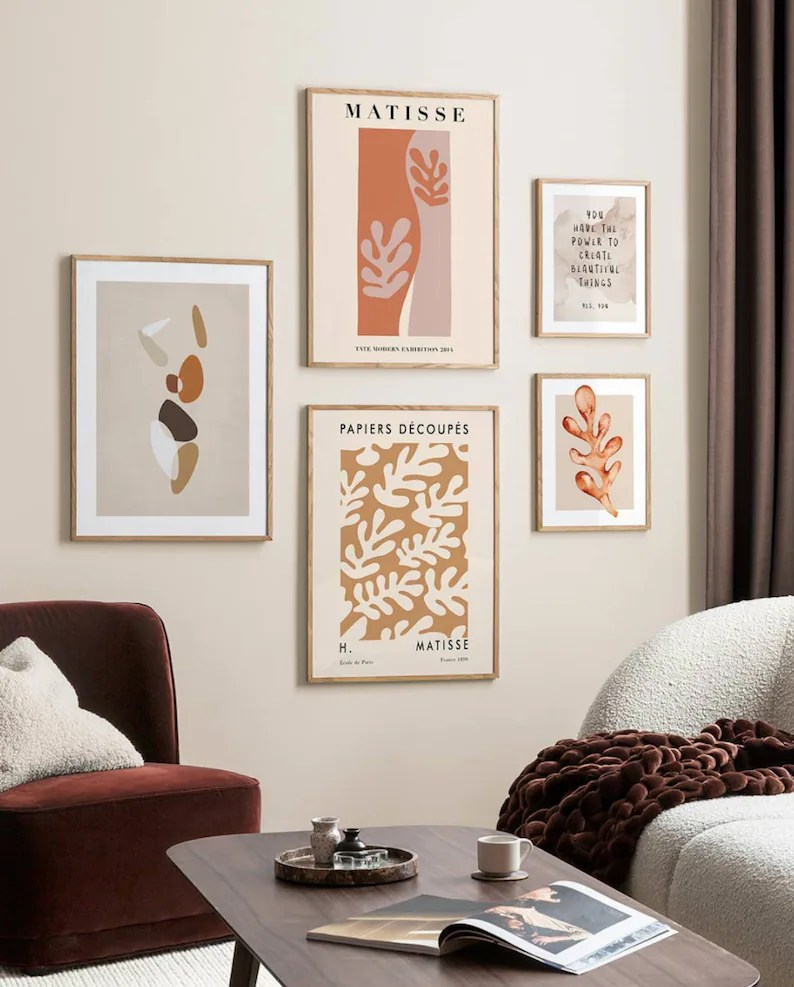 Matisse Gallery Wall art set 5 Prints Ready Made Gallery Set of 5