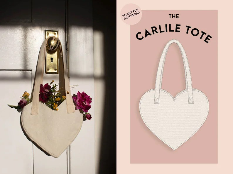 Heart shaped tote bag  Small  Sewing pattern instant PDF image 0
