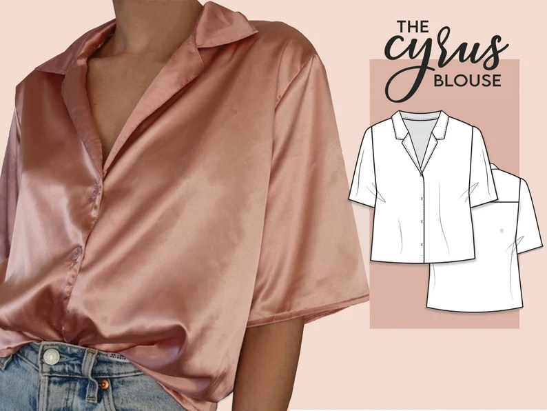 Button up shirt  Notched collar  Sewing Pattern instant PDF image 0