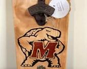 Rustic University of Maryland Wall-Mounted Bottle Opener