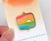 Enamel Pin - Sunrise, Colorful Enamel Pin, Lapel Pin, Gold Finish, Gift, Gift for Her, Bridesmaid Gift, Christmas Gift, Friend Gift