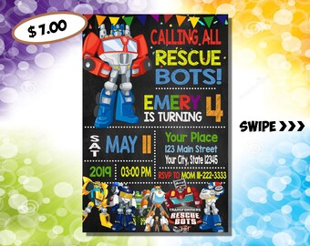 cards invitations transformers
