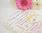 Wildflower Flat Wedding Invitation with RSVP - Pastel Floral Wedding Invitations - Spring Floral Wedding Invitations