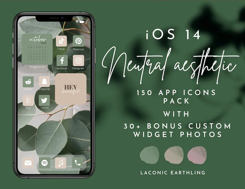 In that case, you probably want to pick a solid color for your background and make sure that all. IOS 14 Neutral Aesthetic 150 App Icons Pack ...