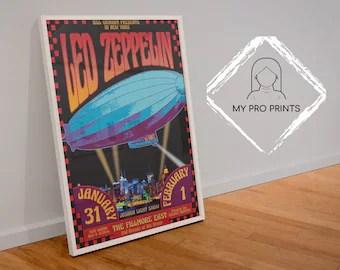 led zeppelin poster etsy