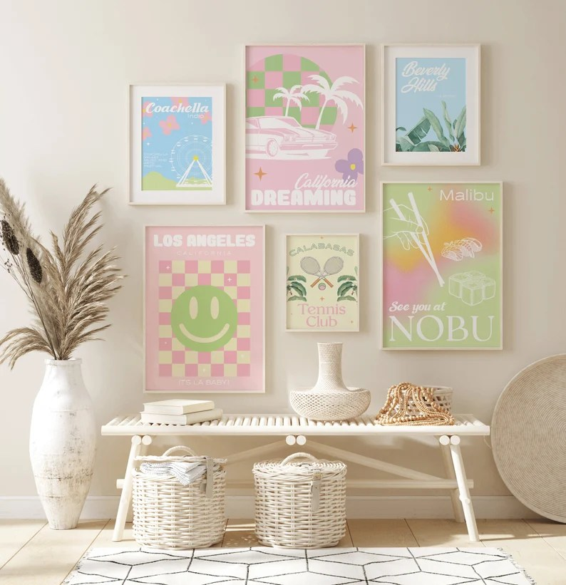 California Themed Prints Gallery Wall Set of 6 A3 A4 Poster image 0
