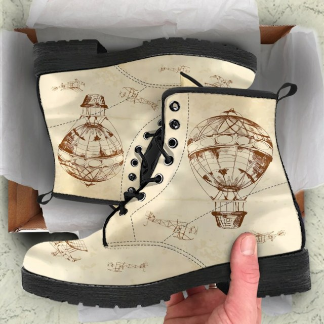 Retro Victorian Hot Air Balloon Steampunk Boots created by The Dream Story.