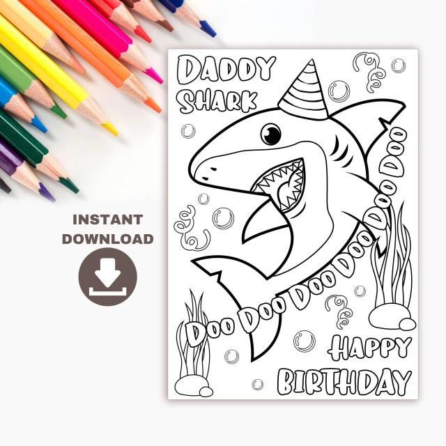 Daddy Shark Printable Birthday Coloring Card for kids. Funny DIY Birthday  card for dad. Digital download coloring page for dad birthday