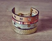 Boho Star Bracelet - Handmade - Multicolor - Leather straps - Chain
