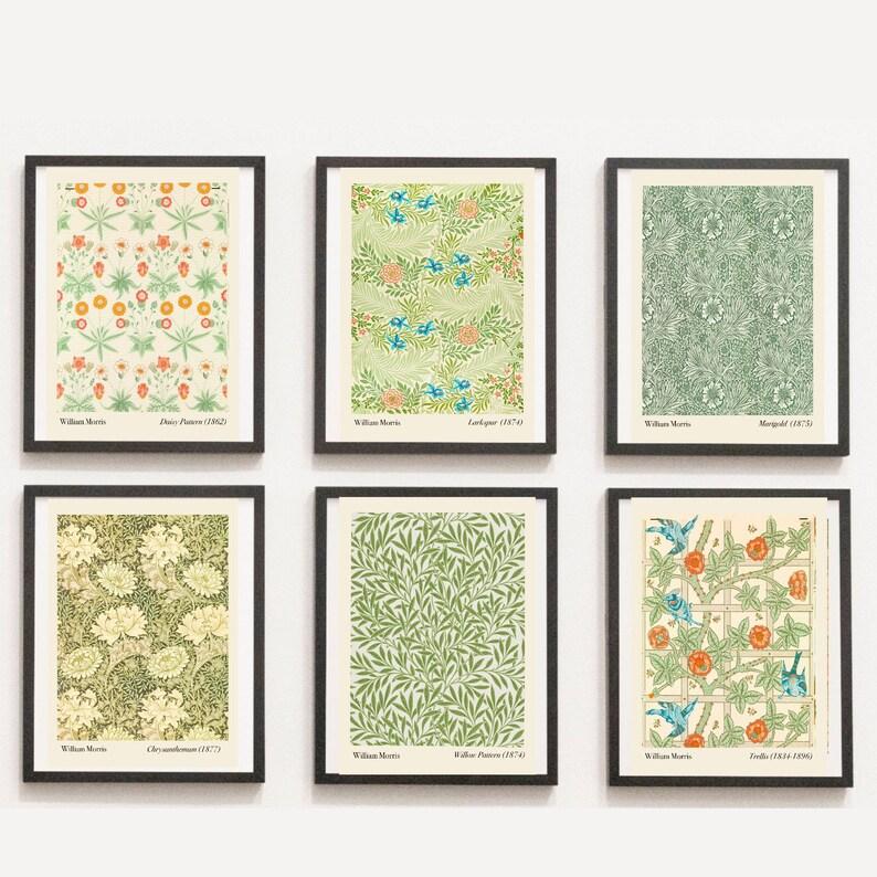 William Morris fabric designs Set of 6 botanical fabric prints image 0