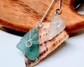 Real vivid turquoise sea glass necklace /  Caribbean green beach glass / turquoise jewelry / Belize necklace