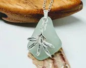 Sea foam sea glass necklace / silver orchid necklace / sterling silver necklace / sea foam necklace