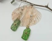 Vivid green sea glass earrings with copper wire / emerald green earrings/ green and copper earrings with silver ear wires /Kelly green glass