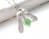 Sycamore seed and green sea glass necklace / silver sycamore seed necklace / vivid green beach glass with silver seed / woodland necklace