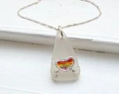 Frosty white rainbow pride sea glass pendant necklace / pride necklace / pride pendant / rainbow pendant / pride jewelry / pride jewellery