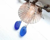 Caribbean blue beach glass earrings / vivid blue natural sea glass jewellery / cobalt blue sea dangle sea glass earrings /classic blue drop