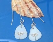 Rare white beach glass earrings / 9k gold hearts / fine silver wire / sterling silver ear wires / natural beach glass
