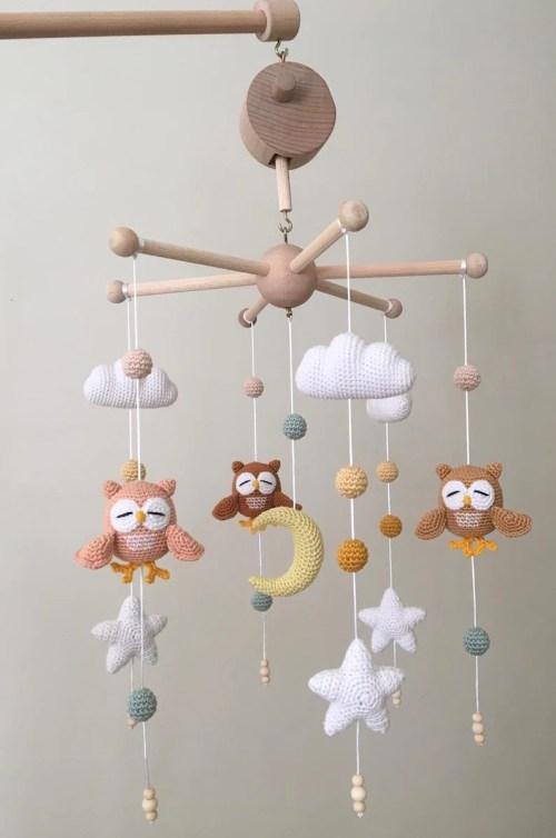 Crochet Baby Mobile  Owl Crib Mobile With Music Box Nursery image 0