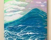 Wave and Seafoam Colorful Original Acrylic Painting- Glittering surf art, ocean art, pop art