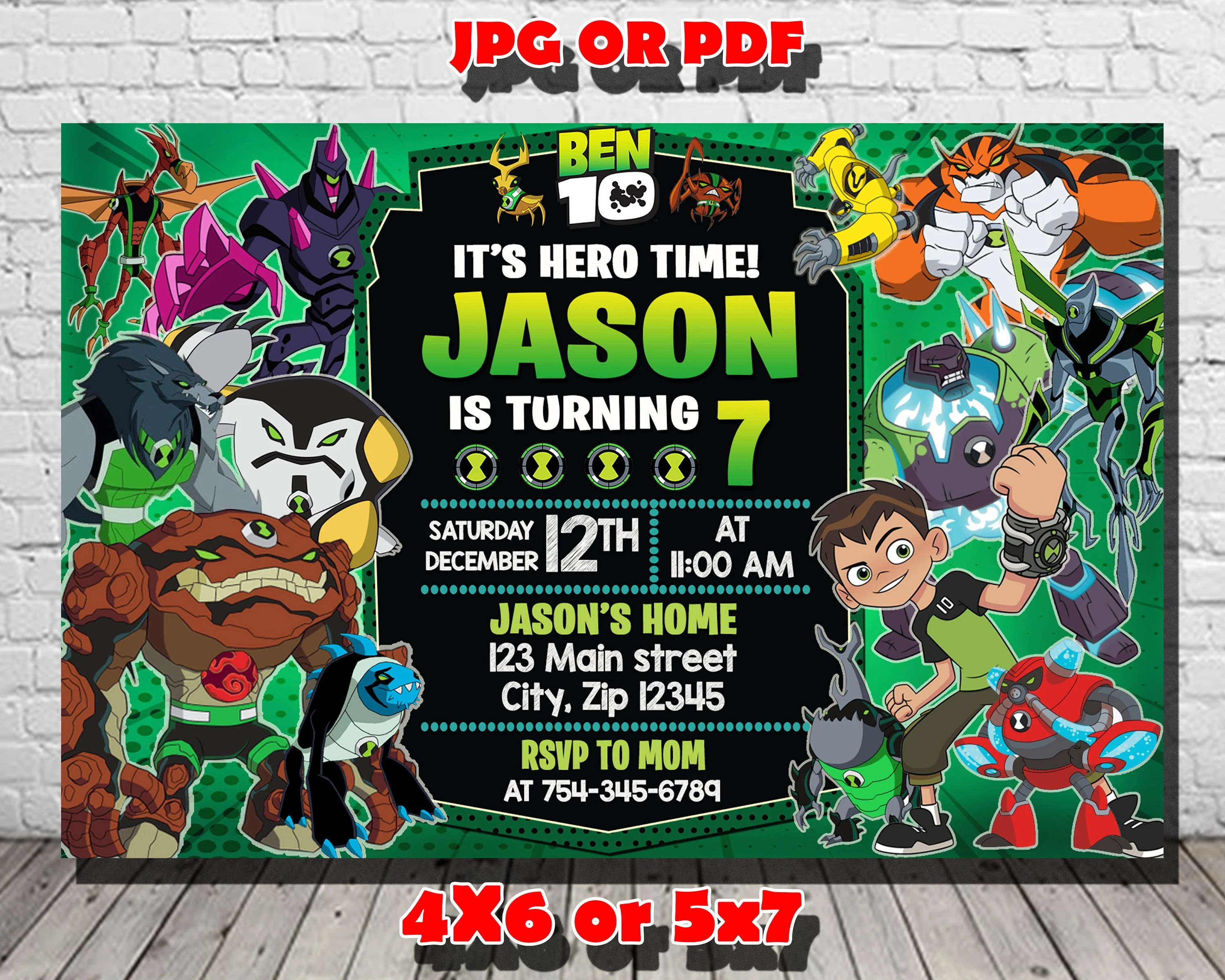 ben10 invitation etsy