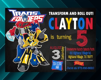transformers birthday invitation etsy