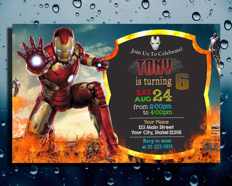 iron man invitation etsy